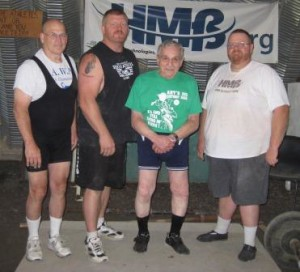 Group picture from the 2015 USAWA Old Time Strongman Championship (left to right): Denny Habecker, Eric Todd, Art Montini, Lance Foster