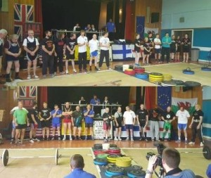 Lifters competing in the 2015 IAWA World Championships in Glasgow, Scotland.