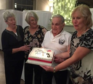 Art Montini recieved a birthday cake in Scotland to recognize his 88th birthday.  The cake was presented to him by Judy Habecker, Janet Dick, and Karen Gardner.