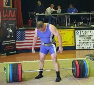 Mark Haydock preparing to lift 300 kilograms in the Straddle Deadlift at the 2015 IAWA World Championships in Glasgow, Scotland.