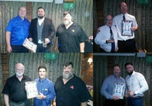 The recent inductees into the IAWA(UK) Hall of Fame - John Gardner, Andy Tomlin, Chris Bass, and Mark Haydock