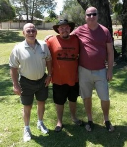 The TOP THREE at the Australian International Old Time Strongman Challenge (left to right): Denny Habecker (3rd), John Mahon (1st), and Graham Saxton (2nd).