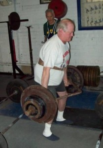 John McKean in action performing a trap bar deadlift at his recent record day.