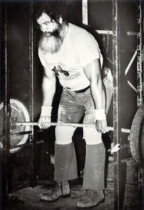 John Patterson focused much of his training in the power rack.   Here John is pulling a 750 pound People's Deadlift!