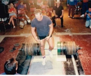 Steve Schmidt just after doing a 2300# Hip Lift at the Ambridge Nationals in 1991, in taking the open Best Lifter Award.