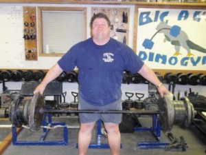 Mark Mitchell lifting 455 pounds in the Reeves Deadlift for a Dino Gym Record in December of 2009.