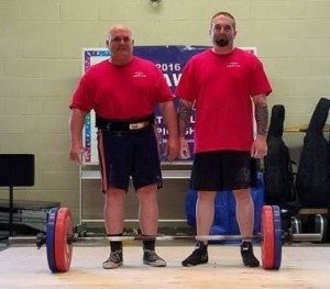 Frank Ciavattone (left) and Jeff Ciavattone (right) had the highest One Arm Ciavattone Grip Deadlifts of the meet, a lift named after Frank. Frank finished with 115 KG with Jeff right behind him at 110 KG (photo courtesy of Cara Ciavattone Collins)