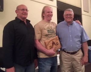 Winner of the Howard Prechtel Award was Timo Lauttamus (center). Peter Phillips from Australia was third (left) and LaVerne Myers was second (right).