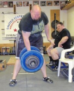 Scott Tully performing the top Fulton Dumbbell Deadlift in the USAWA Record Books at the 2012 Grip Championships.