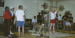 Jack Lano lifting at the 1997 USAWA National Championships in Columbia, Missouri.