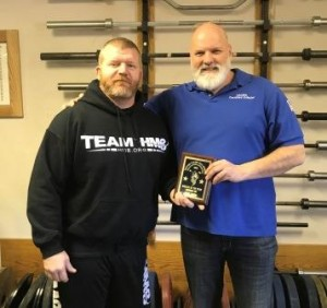 Eric Todd (left) recieved his award from Thom Van Vleck (right) for being the Athlete of the Year Runner Up for last year at the Dino Gym Challenge. Eric went on to win the Overall Best Lifter at the 2018 Dino Gym Challenge.